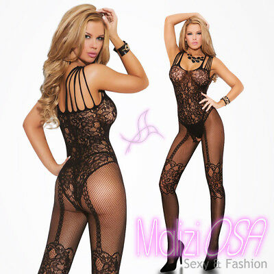 Bodystocking Catsuit Lingerie Tutina Intimo Donna Hot Rete NERO BODY Calza corpo