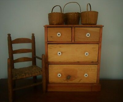 Antique Apothecary Chest Cabinet Cupboard Hand Made Pine c 1900 AAFA
