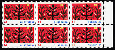 1999 Australia Christmas Tree of Life, block of 6 x $1 Stamps - MNH