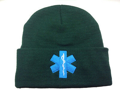 1 x Star of Life Green Woolly Hat  First Responder Ambulance Paramedic St Johns