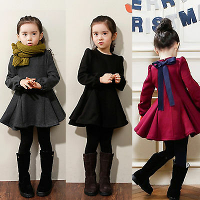 Kids Girls Winter Dress Long Sleeves Bow Tie Skirt Evening Party Pleated Dresses