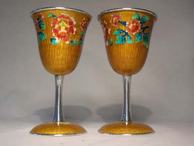 Pair of Silver Cloisonne Goblets or Wine Cups Marked '98% SILVER' each 96 grams