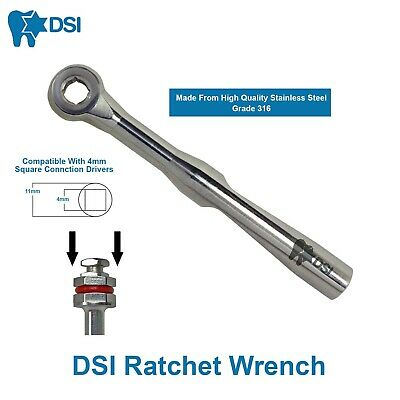 DSI Dental Implant Abutment Wrench Ratchet Stainless Steel Driver Adapter Square