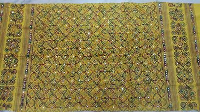 Indian Dupatta Cotton Hijab Wraps Kutch Embroidered Long Veil Scarf Yellow