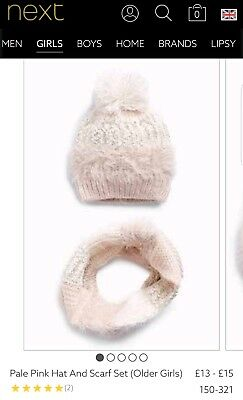 Bnwt Next Girls Size 3-4 Years  Pink Hat And Scarf Set
