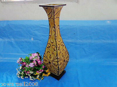 Simplicity European Style Yellow Iron H 60 CM Home Decorations Carved Vase