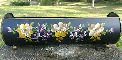 Vintage Nashco  Toleware Hand Painted Footed Planter Biscuit cracker tray