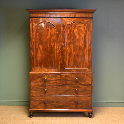 Spectacular Figured Mahogany Regency Antique Linen Press