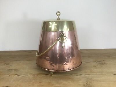 19th C. Dutch Brass and Copper Peat / Coal Bucket