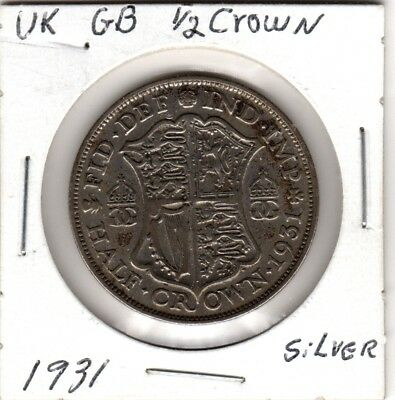 1931 Great Britain 1/2 crown silver