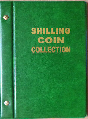 VST AUSTRALIAN 1/- COIN ALBUM SHILLING 1910 to 1963 with MINTAGES - GREEN Colour