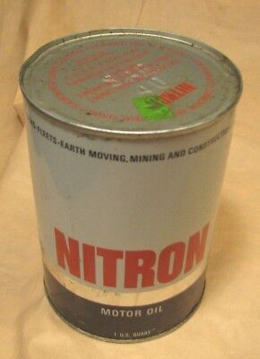 Nitron Sae 40 Motor Oil 1 Quart Unopened Vintage Metal Can by Boron