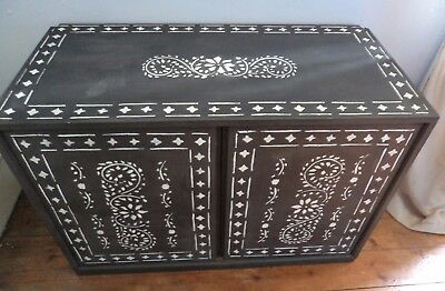 Bespoke vintage solid wooden wall floor cupboard hand painted Indian Style.