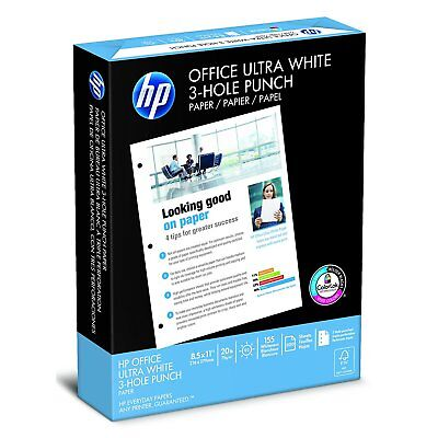 HP Paper, Office Ultra White, 20lb, 8.5 x 11, 3 Hole Punch , 92 Bright, 500