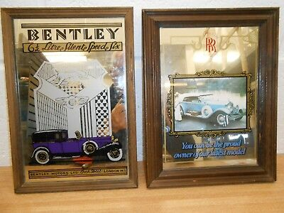 2x Attractive Small Decorated framed  Mirrors - Rolls Royce & Bentley themed.
