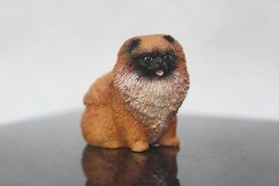 Miniature Animal Pomeranian Dog Figurine Resin Hand Painted Collectible Gift