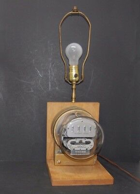 Electric Meter Vintage Antique Table Lamp Steampunk Rare Collectible