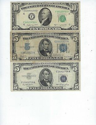 MIXED LOT OF 19 U.S. Small Size Notes ($10, $5, $2, $1 Notes), $40 Face Value