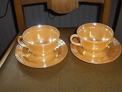 Pair of Vintage Fire King Luster Ware Cup & Saucers