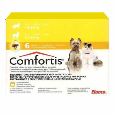 Comfortis 140Mg - Dog (2,1-3Kg) # Cat (1,9-2,8Kg), Flea Treatment - 6 Tablets