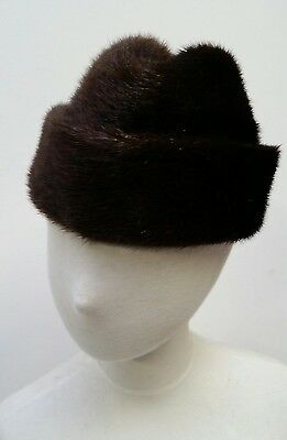 """Mens Womens Vintage Real Fur possibly Beaver Hat circ 22"""" approx"""
