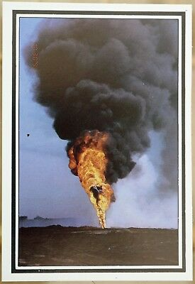 Postcard  Kuwait 1991 Fire at oil well 118 Burgan the last to be capped Gulf War