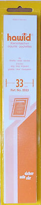 HAWID STAMP MOUNTS 33mm CLEAR Pack of 25 Strips 210mm x 33mm - Ref. No. 2033
