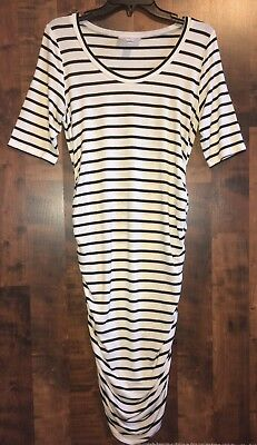 Motherhood Maternity Fitted Dress• Medium• Black And Ivory Stripes• Cinched Side