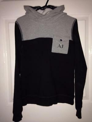 BOYS NAVY BLUE & GREY ARMANI HOODY TOP. age 14 BUT MORE LIKE AGE 11-12