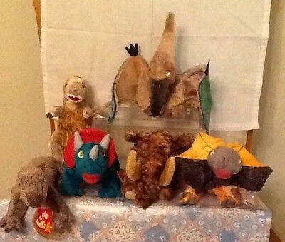 6 Prehistoric TY Beanie Babies - Scaly, Hornsly, Swoop, Slayer, Giganto, Toothy