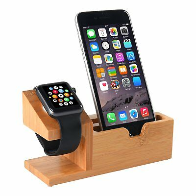 Bamboo  Wood Charging Station with 3 USB Ports for iPhone iWatch 38mm/42mm