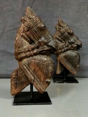 Large Antique/vintage Indian Wooden Horse Head Sculpture On Stand. Waxed Teak.