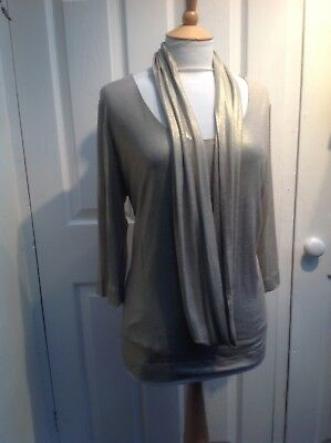 David Nieper  2 Piece Gold Top And Scarf Size20