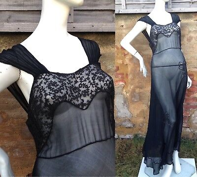 Vintage 1940s Silk chiffon night gown / negligee 30s Deco Pin Up Gothic Lace