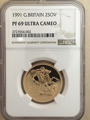 1991 Great Britain 2 Sovereign Gold Coin - NGC PF69 Ultra Cameo **FREE SHIPPING*