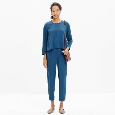 Madewell Women's Clermont Overlay Green/Teal Long Sleeve Jumpsuit Size M