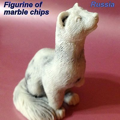Ferret figurine marble chips miniature Souvenirs from Russia pet