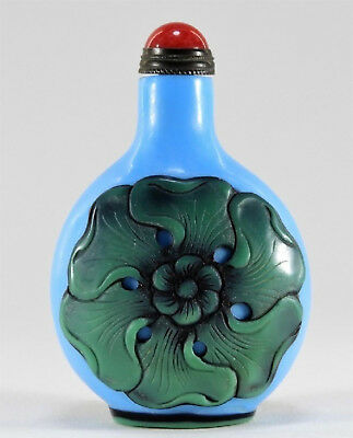 Antique Qing Dynasty Chinese Asian Black Blue Green Peking Glass Snuff Bottle