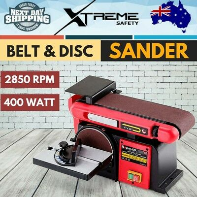 New 400W Belt Disc Sander Linisher Polisher Buffer Bench Mount Grinder BAUMR-AG