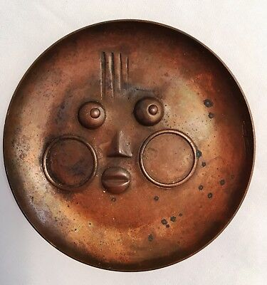 ~*~REBAJES FACE dish/tray Copper Mid Century Modernist~*~