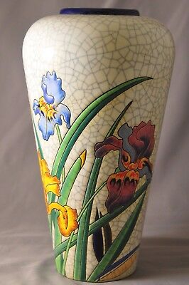 Vintage French Longwy Art Deco Pottery Vase Crackle Glaze & Flowers