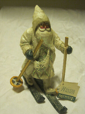"""Midwest of Cannon Falls WINTER WHITE SANTA ON SKIS 6.5"""" Figurine-Pam Schifferl"""