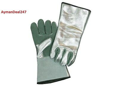 "4 Aluminized Heat Resistant 13"" Gloves Leather Palm 800° WELDING SAFTEY MITTS"