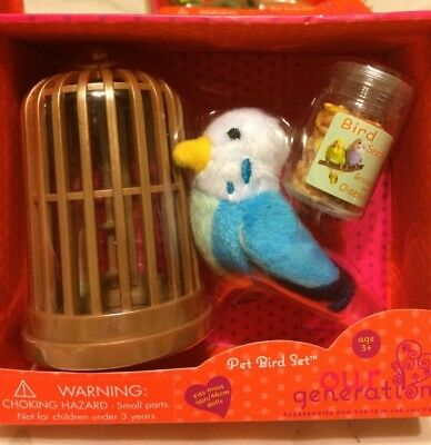 "NEW Our Generation Pet Set For American Girl 18"" Doll - Bird"