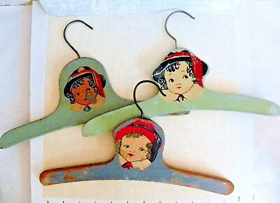 Lot of 3 Vintage Children's Child's Hangers Hangars Wood Wooden Painted