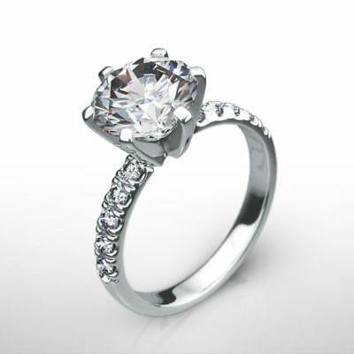 Si2 Diamond Ring Round Brilliant Genuine 6 Prongs Awesome 2 Ct 14K White Gold