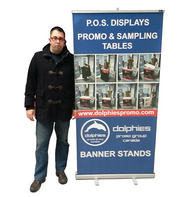 "Durable 40"" Retractable Banner Stand Roll Up Trade Show Display + CUSTOM PRINT"