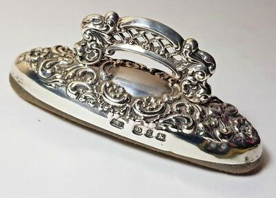 Antique Victorian Sterling Silver Manicure Tool, Daisy Embossed Nail Buffer 1899