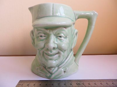 Green Character Jug Man's Head Pottery Whisky Water Pitcher Vintage? / Antique?