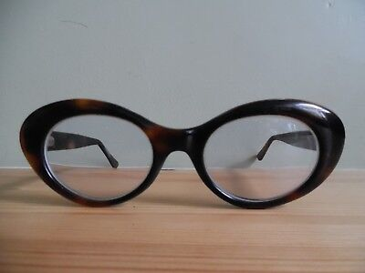 Vintage Ladies Havana Brown Oval Eye Glasses